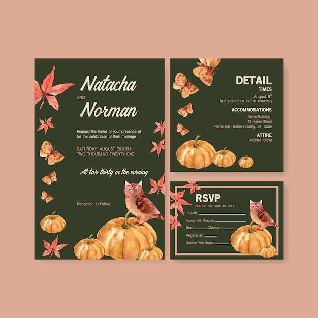 Outono modelo diário de design para cartão de casamento e convite aquarela Vetor grátis