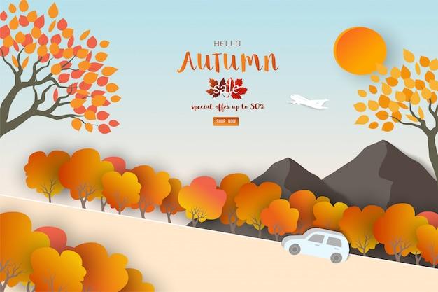 Outono ou outono paisagem Vetor Premium
