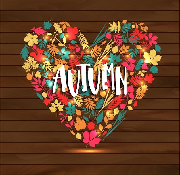 Outono outono ilustração do coração Vetor grátis