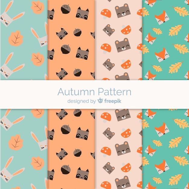 Outono padrão definido com animais fofos Vetor grátis
