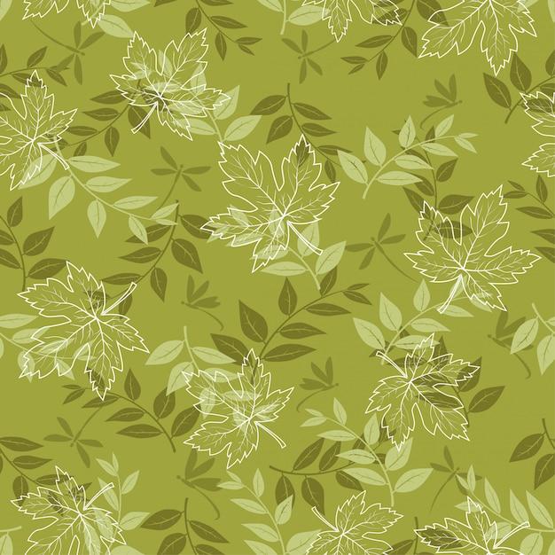 Outono padrão sem emenda com folhas de plátano e libélula em verde pastel Vetor Premium