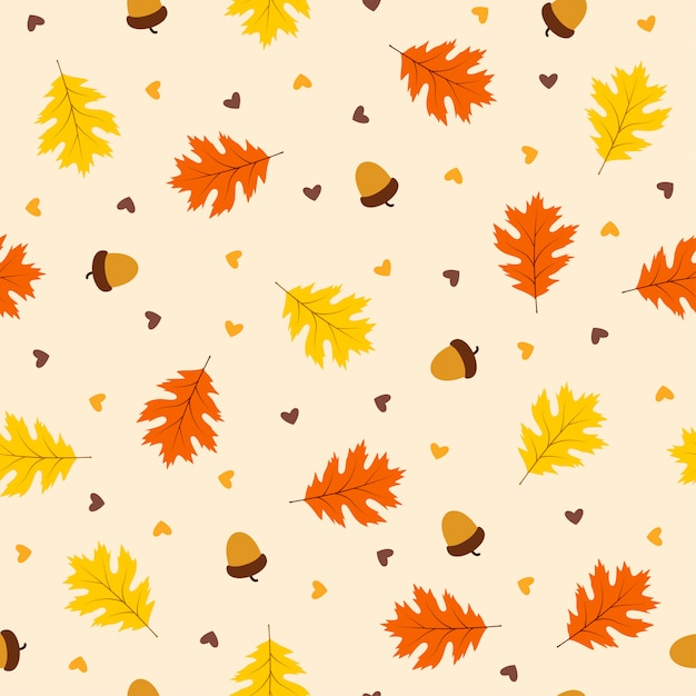 Outono padrão sem emenda com folhas Vetor Premium