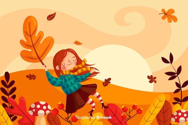 Outono paisagem fundo plano designlan Vetor grátis