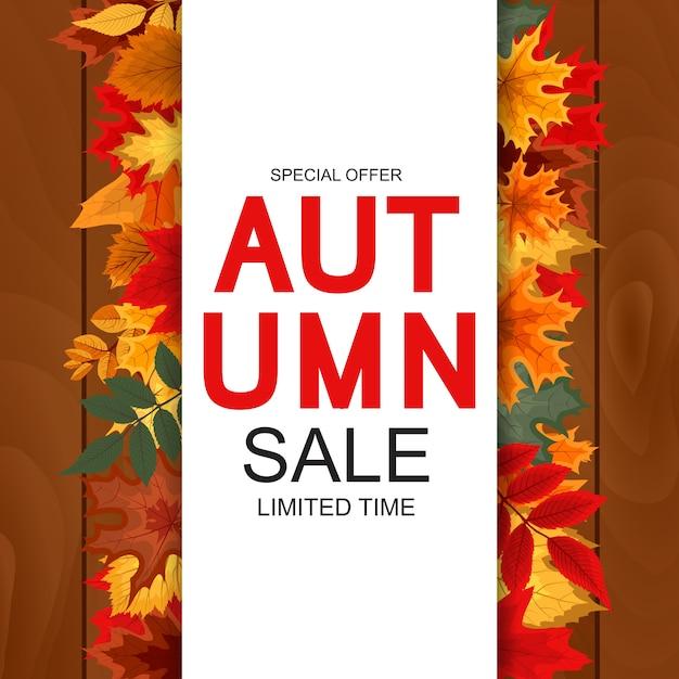 Outono venda fundo Vetor Premium