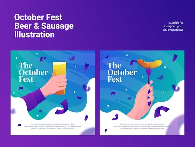 Outubro fest salsicha de cerveja Vetor Premium