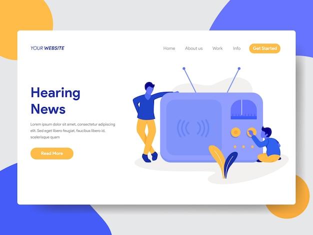 Ouvindo notícias de ilustração para páginas da web Vetor Premium