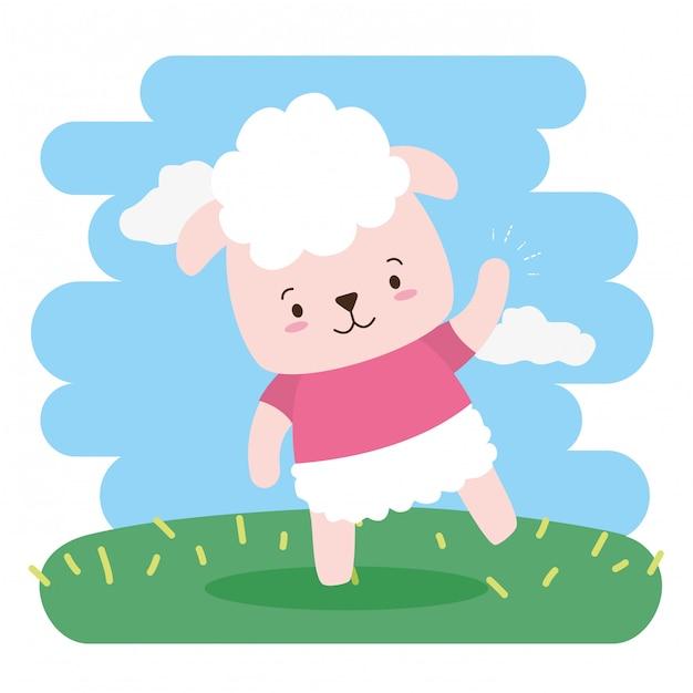 Ovelha bonito animal dos desenhos animados e estilo simples, ilustração Vetor grátis