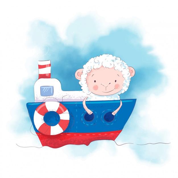 Ovelha bonito dos desenhos animados em um barco. Vetor Premium