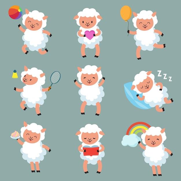 Ovelhas bebê fofo. personagens de vetor de cordeiro de lã engraçado dos desenhos animados Vetor Premium