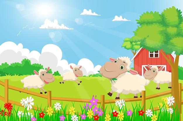 Ovelhas De Desenhos Animados Com Um Cenário De Fazenda