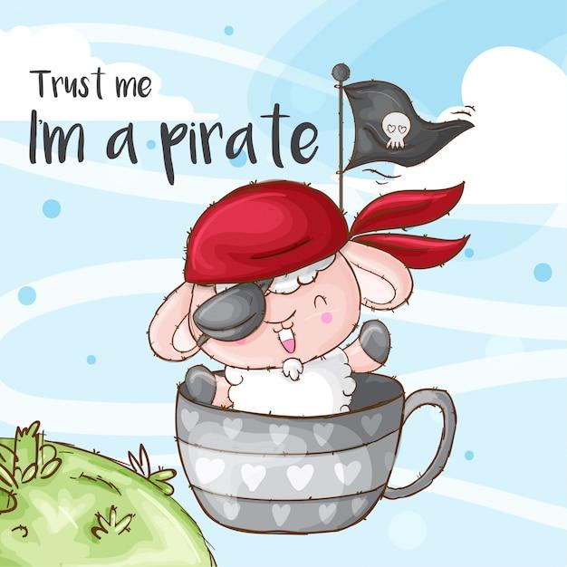 Ovelhas fofos animais pequenos piratas Vetor Premium