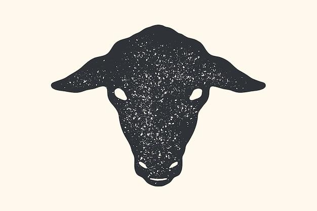 Ovelhas. impressão retro vintage, cartaz, banner. cabeça de ovelha com silhueta em preto e branco Vetor Premium