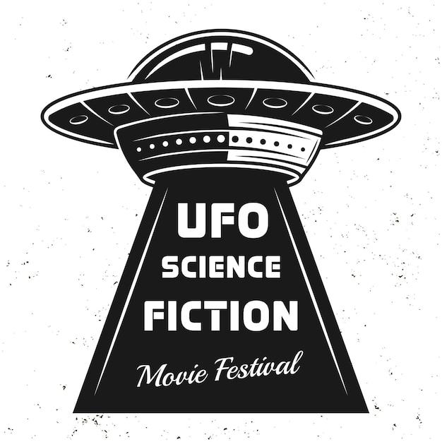 Ovni com texto ilustração vintage do festival de filmes de ficção científica Vetor Premium