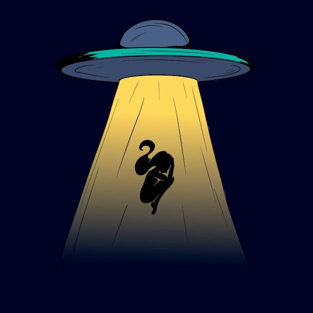 Ovni no céu escuro da noite sequestra uma pessoa. silhueta de uma mulher. Vetor Premium
