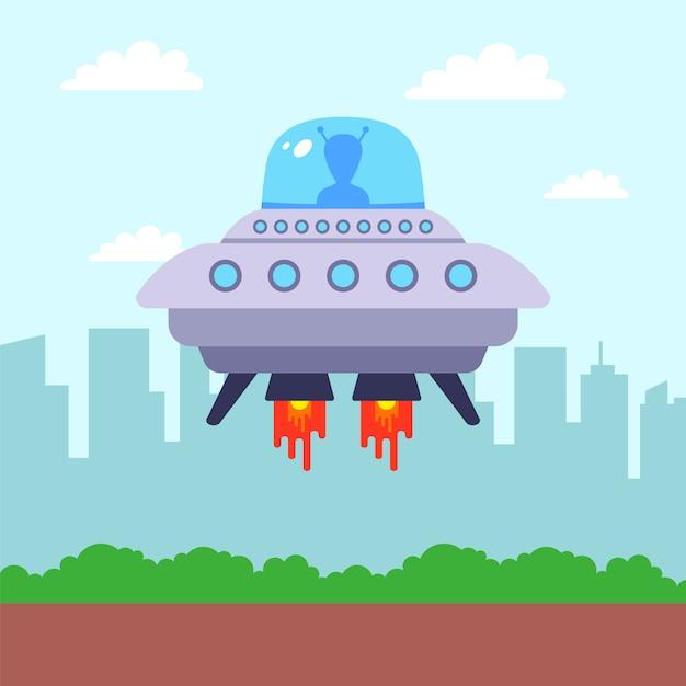 Ovni pousou no parque contra o pano de fundo da cidade. primeiro contato com um alienígena. ilustração plana. Vetor Premium