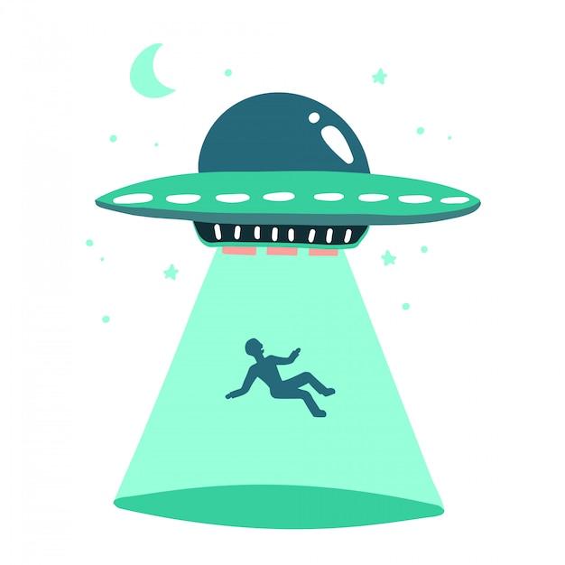 Ovni rapta humanos. nave espacial ovni raio de luz ilustração em estilo simples, isolado no fundo branco. conceito de impressão desenhado de mão. Vetor Premium