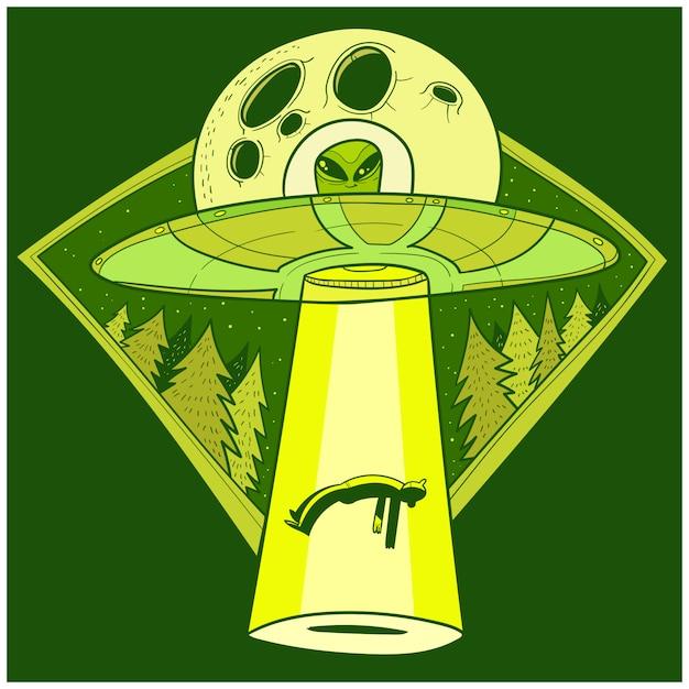 Ovni rapta humanos. nave espacial ovni raio de luz no céu noturno Vetor Premium