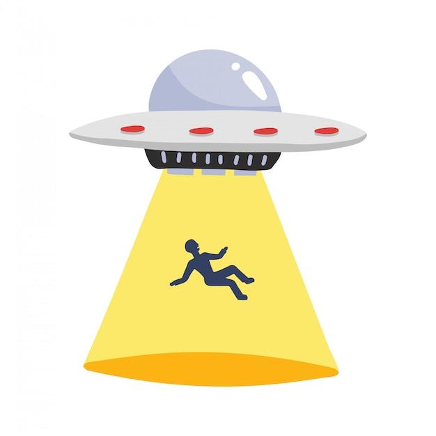 Ovni rapta humanos. nave espacial ufo raio de luz com silhueta de homem, ilustração Vetor Premium