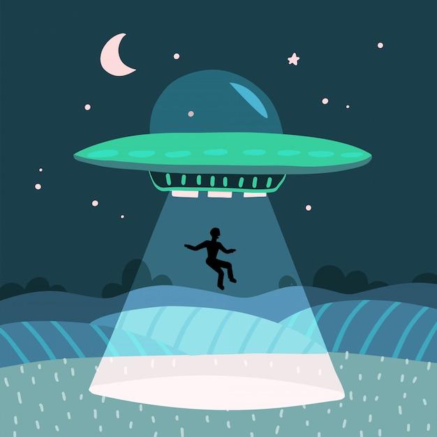 Ovni sequestrando um homem, paisagem de fazenda noite de verão no campo noturno. fundo com estrelas e lua no céu. ilustração plana Vetor Premium