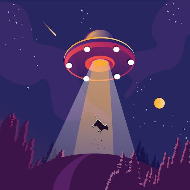 Ovni sequestrando uma silhueta de vaca. nave espacial alienígena, objeto voador desconhecido futurista, paisagem de floresta de noite de verão, fundo com estrelas e lua no céu. Vetor Premium