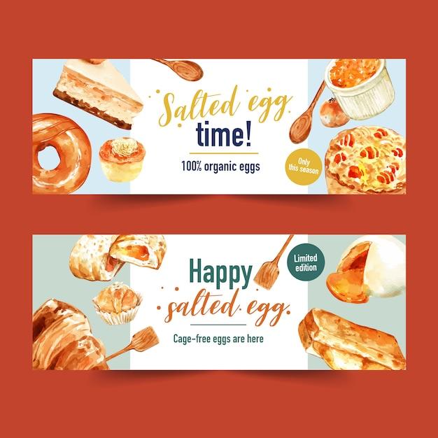 Ovo salgado banner design com colher, bolo de queijo, pão ilustração em aquarela. Vetor grátis