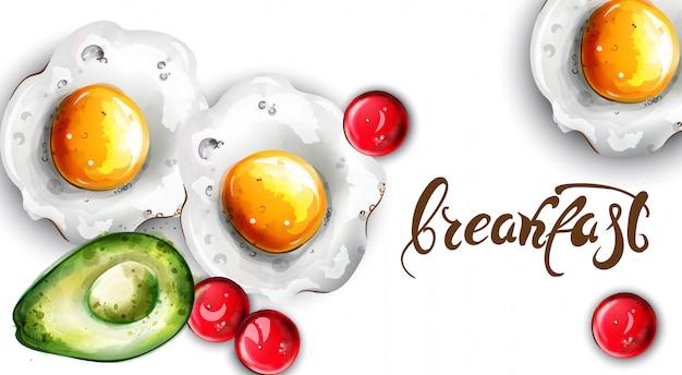 Ovos de café da manhã e abacate Vetor Premium