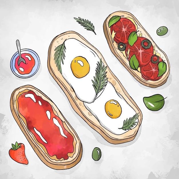 Ovos de comida reconfortante no pão Vetor grátis