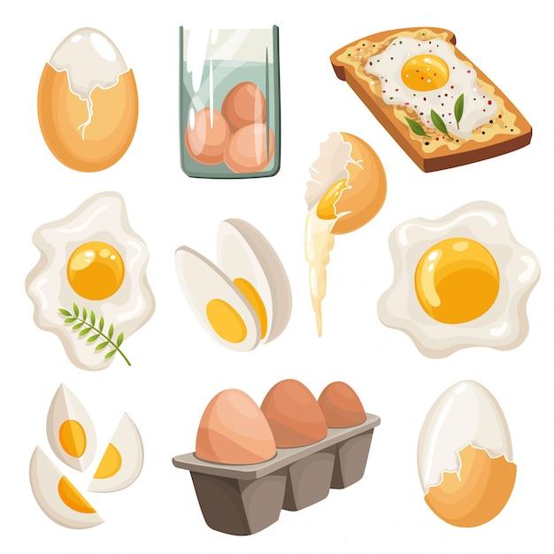 Ovos de desenhos animados isolados no fundo branco. conjunto de casca de ovo frita, cozida e rachada, ovos fatiados e ovos de galinha em caixa. ilustração vetorial Vetor Premium