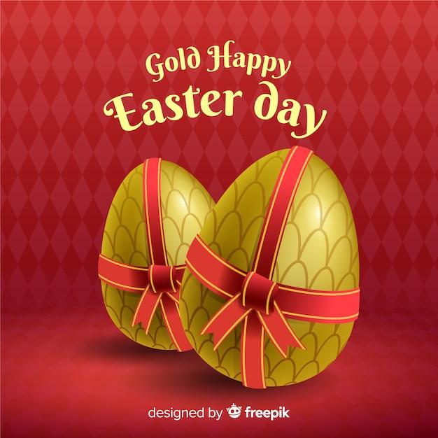Ovos de ouro com fundo de dia de páscoa de arco Vetor grátis