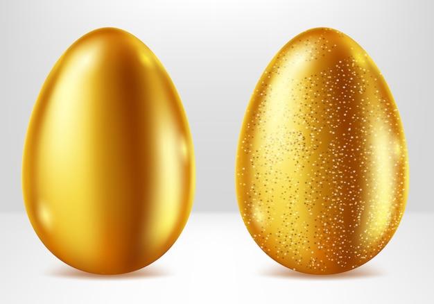 Ovos de ouro, presente de páscoa de metal realista Vetor grátis
