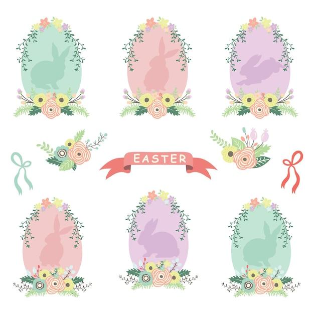 Ovos de páscoa de grinalda de flores Vetor Premium