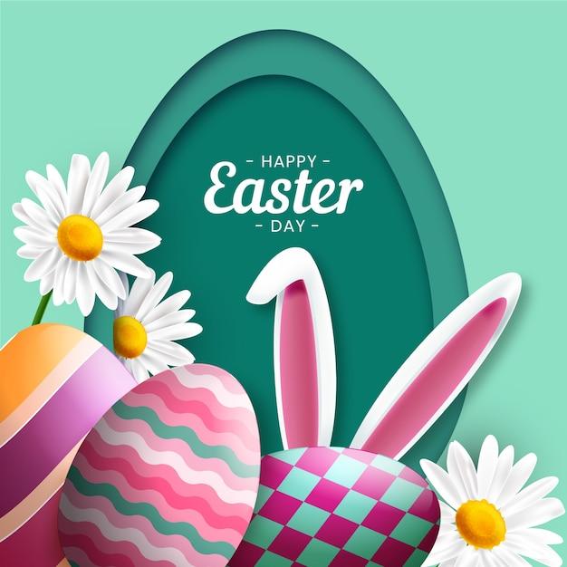 Ovos de páscoa feliz realista dia e orelhas de coelho Vetor grátis