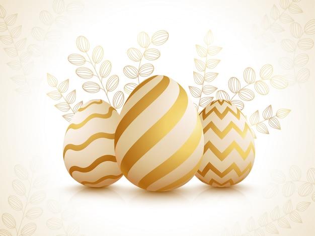 Ovos de páscoa realistas em folhas brilhantes decoradas Vetor Premium