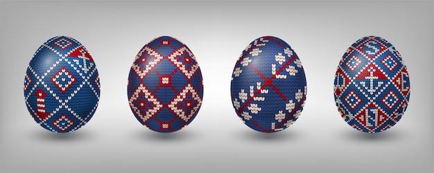 Ovos pascais decorados com padrões de tricô Vetor Premium