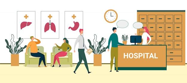 Paciente falar com recepcionista no hospital hall ilustração Vetor Premium
