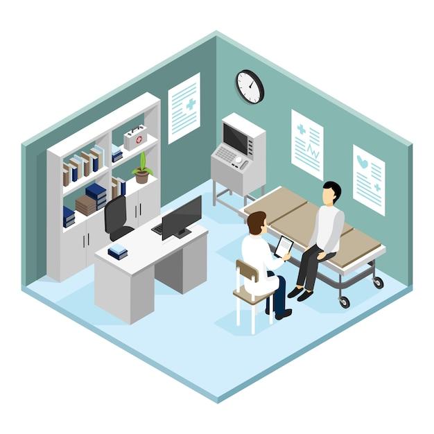 Paciente no escritório dos doutores Vetor grátis