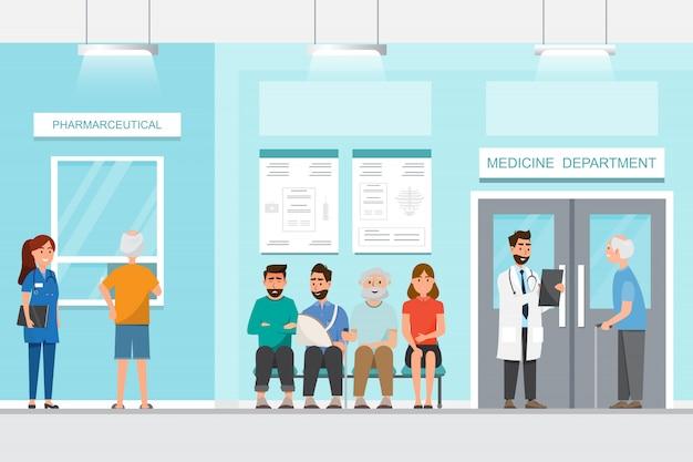 Paciente sente-se e espere na frente do quarto no hospital Vetor Premium