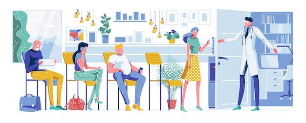 Pacientes de desenhos animados, à espera de consulta médica Vetor Premium