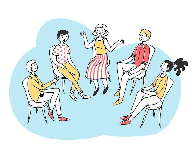 Pacientes discutindo seu problema psicológico ou de dependência Vetor Premium