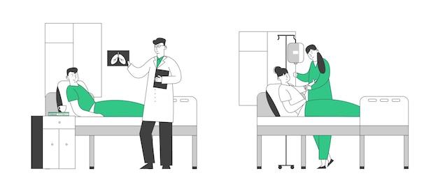 Pacientes, homem e mulher, deitada na câmara do hospital. Vetor Premium