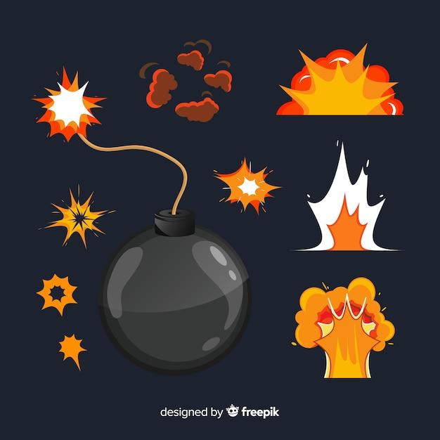 Pack de bombas e explosões estilo cartoon Vetor grátis
