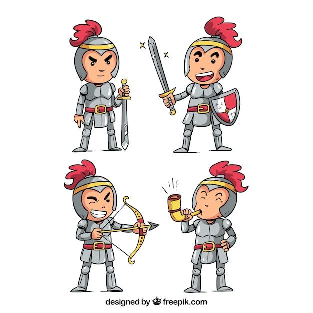 Pack de personagens bonitos de cavalheiros desenhados a mão Vetor grátis