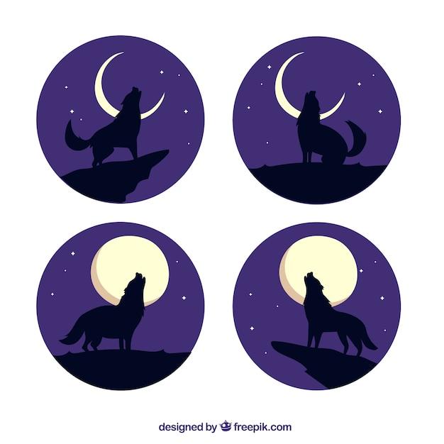 Pack de quatro lobos uivando na lua Vetor grátis