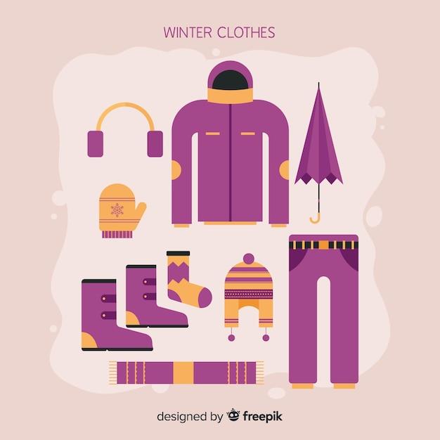 Pack de roupas de inverno plana Vetor grátis