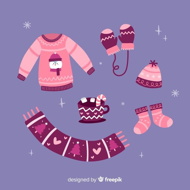 Pack de roupas de inverno rosa Vetor grátis