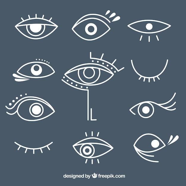 Pack of desenhado à mão olhos diferentes Vetor Premium