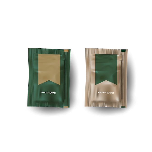 Packaging de açúcar Vetor Premium