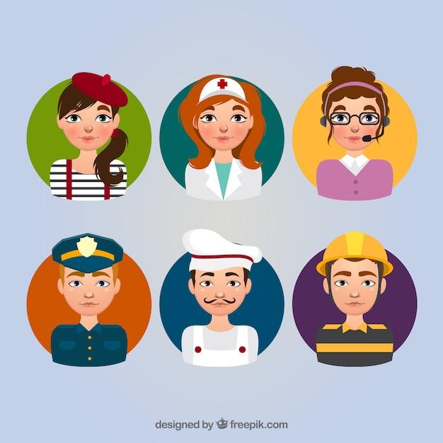Pacote avatar com homens e mulheres profissionais Vetor grátis