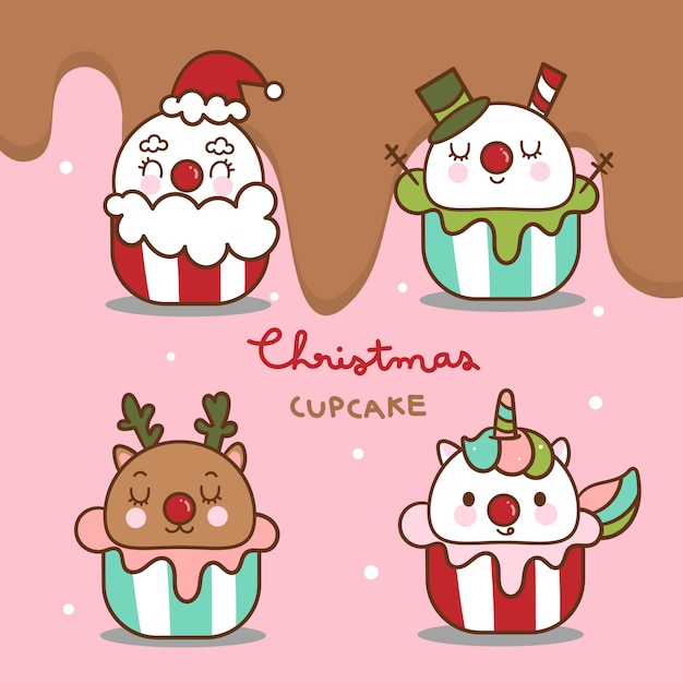 Pacote bonito de cupcakes de natal Vetor Premium