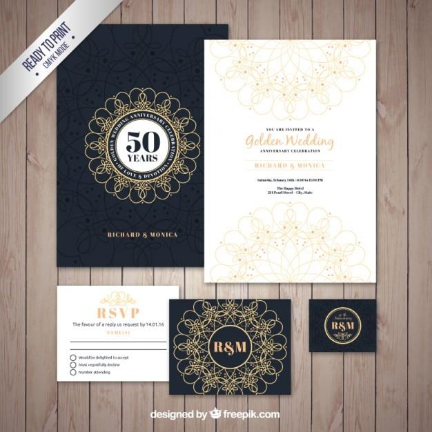 Pacote brochura de casamento dourado Vetor grátis